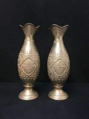 Magnificent Pair of Antique Persian Silver Vases Marked 84 Fine Quality