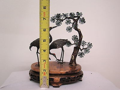 Marvelous Pair of Large Antique Sterling Silver Enameled Cranes on Wooden Stand