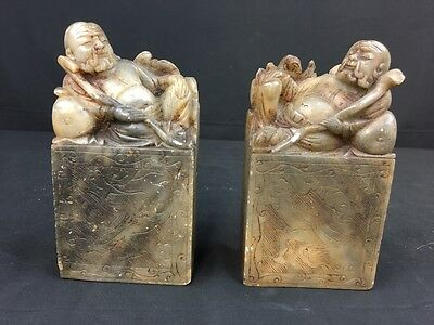 Marvelous Pair Of Antique Chinese Buddha Stone Statues