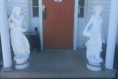 Very Large Pair Of Solid Marble Garden Statues