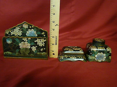 Real Antique Chinese Or Japanes 19th Century Cloisonne 3 Piece Desk Set