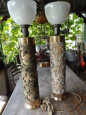Pair Vintage Floral Wallpaper Roller/Template Lamps, Heavy Brass Tops and Bottom