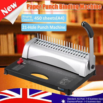 Paper Punch Plastic Comb Binder Binding Machine 450 Sheets 21 Holes DIY Booklets