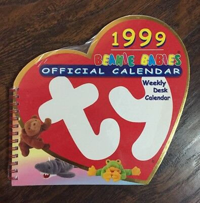 NEW Rare HTF Sealed 1999 Ty Beanie Babies Official Weekly Desk Calendar