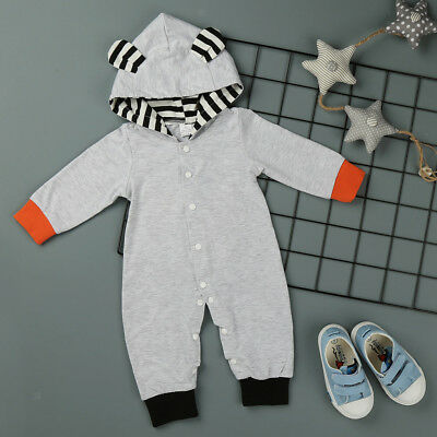 Newborn Baby Boy Girls Jumpsuit Infant Cotton Romper Hooded Bodysuit Outfit