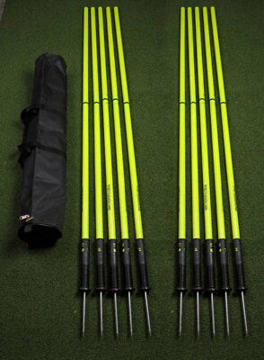 OAS Set of 10 - 177cm Two Piece Premium Spring Base Agility Poles in Bag