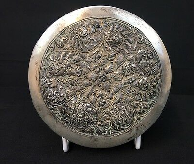 Very Unusual Antique Asian Silver Box With Intricate Floral Repousse Designs