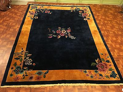 Wonderful Antique 1900s Chinese Art Deco Area Rug With Blue  & Gold Colors