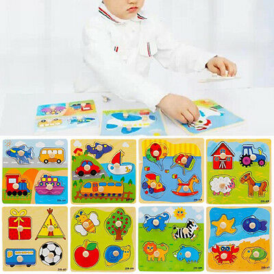 Toddler Intelligence Development Animal Cognize Brick Puzzle Toy For Baby US