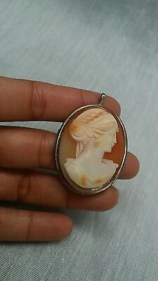 Classy large vintage 800 silver  carve  shell cameo pin /pendant brooch