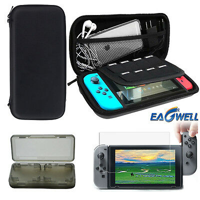 SALE For Nintendo Switch Carrying Bag Shell Case+Tempered Glass Film+Card Box