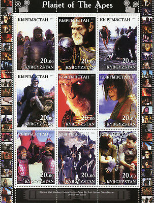 Kyrgyzstan 2001 MNH Planet of the Apes Tim Burton 9v M/S Movies Film Stamps