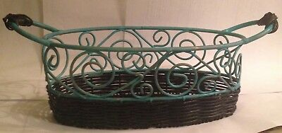 FREE SHIPPING!!! Vintage Hand Painted Wicker/ Wrought Iron Basket with 2 Handles