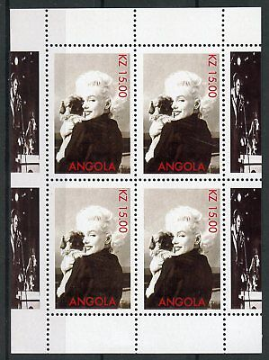 Angola MNH Marilyn Monroe Dogs 4 M/S Movie Stars Celebrities Stamps