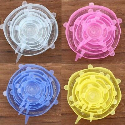 6 Pcs Reusable Silicone Food Pot Lid Bowl Covers Wrap Keep Food Stretch Fresh
