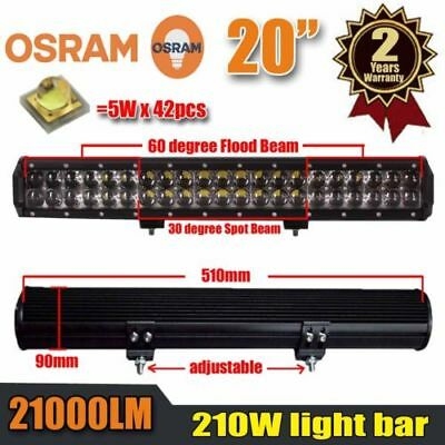210W 20 Inch DUAL ROW OSRAM LED Work Light Bar Spot Flood Combo Offroad Driving