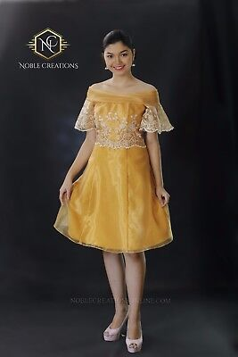 FILIPINIANA Dress Off-Shoulder Philippine National Costume Embroidered Silk