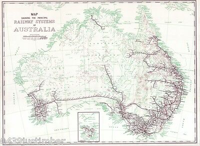 Railway Systems of Australia..Map Showing the Principle Lines in use late 1950's