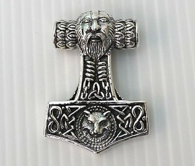 Fenrir Wolf God Mjolnir Thors Hammer 925 Sterling Silver Pendant Chain Necklace