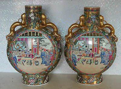 Rare Chinese Porcelain  hand  and gold painted Vases