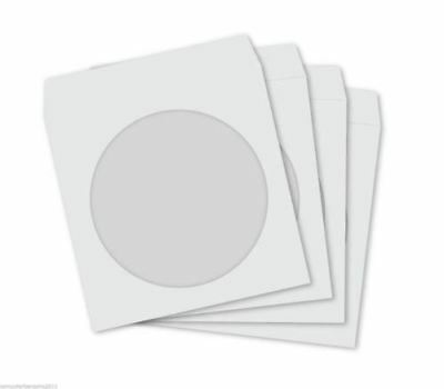 WHITE CD DVD BD-R BDR 120GSM PREMIUM Paper Sleeves with Clear Window Covers