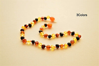 Genuine Natural Baltic Amber Baby Necklace Knotted BQ Beads Jewelry Size/Color