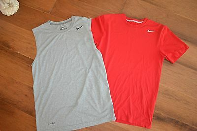Nike Men's DRI-FIT Athletic Shirts (Lot of 2) Gray Red Size S GUC