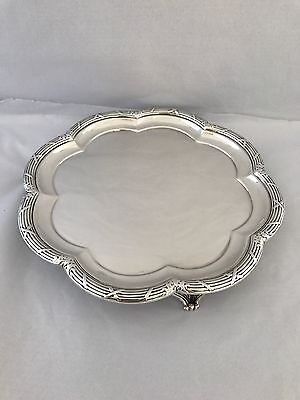 Solid Silver Edwardian Bordered Salver 1906 Martin Hall 22cm