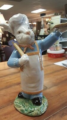 Majolica Kitchen Bunny/Rabbit-Holding Rolling Pin/Pizza-High Quality-LOOK!