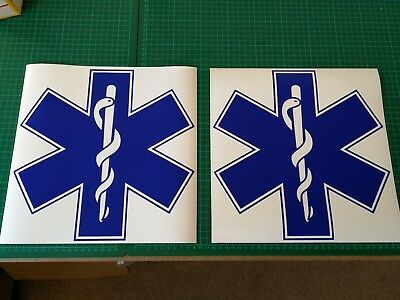 Star Of Life MAGNET MAGNETIC Ambulance Sign Paramedic  First responder 300mm x 2