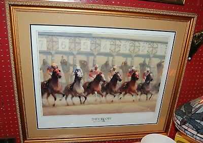 """Throughbred Horse Keeneland Art by James Crow in 24""""x27"""" Frame """"They're Off"""""""