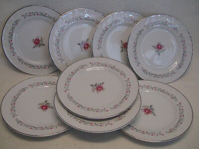 "Fine China of Japan Royal Swirl (8) 6 3/8"" Bread Plates VGUC"