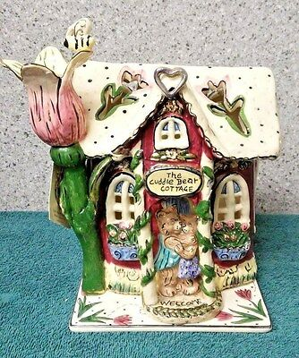 Cuddle Bear Cottage t-lite holder from Blue Sky Clayworks by Heather Goldminc