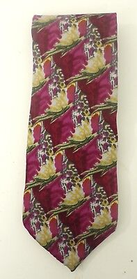 COCKTAIL COLLECTION Mens Hot Pink & Green Floral Abstract Print Silk Neck Tie