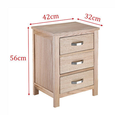 56H x 32W x42L Oak Bedside Table With 3 Cabinet  Drawers Wood Nightstand Bedroom