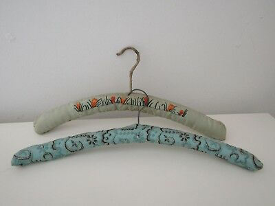 Vintage Embroidered Padded Wooden Coat Hangers 1950's. 1960's Era