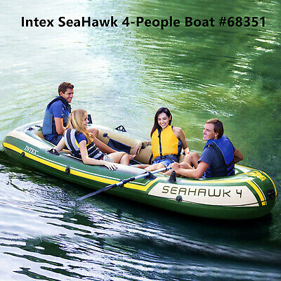 New Intex Inflatable SeaHawk 4 Person 3.51x1.45m Fishing Boat Raft Set #68351