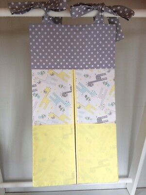 Yellow/grey Nappy Stacker/Toy Holder for a boy or girl. Ideal baby shower gift.