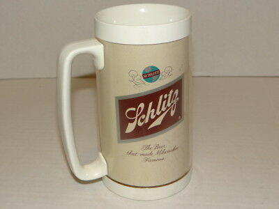 Vintage SCHLITZ Insulated Plastic Beer Mug Thermo-Serve Made in USA