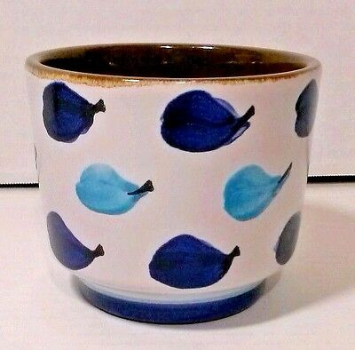 1960's  Danish Modern West Germany Blue and White Abstract Squat Pottery Vase