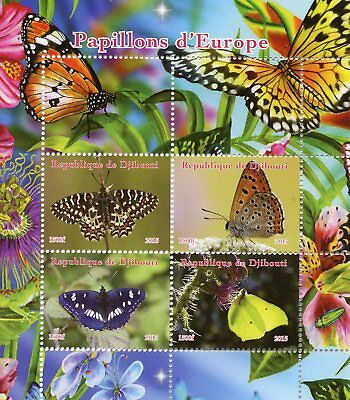 Djibouti 2015 MNH Butterflies of Europe 4v M/S Flowers Butterfly Insects Stamps