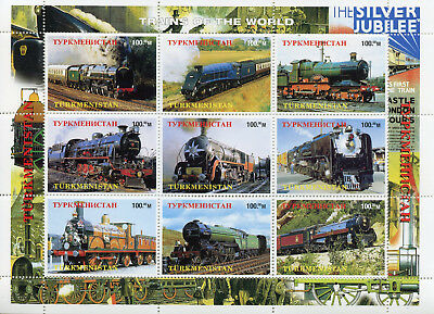 Turkmenistan MNH Trains of the World Steam Engines Locomotives 9v M/S Stamps