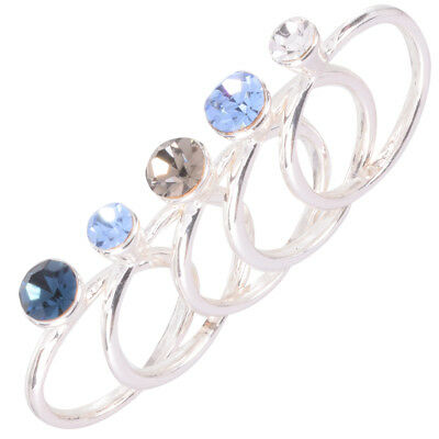 Rhodium Plated Five Ring Set with Czech Solitaire Sapphire Crystals by Zoetik