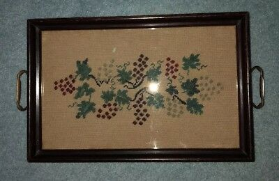 "Antique Needlepoint Wooden Tray 17"" x 11"" x 1 3/4"" Grapes and Leaves"