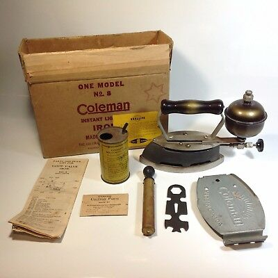 Vintage COLEMAN Spirit / Kerosene Clothes Iron No. 8 in Original Box