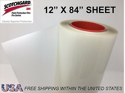 "Paint Protection Film Clear Bra 3M Scotchgard Pro Series 12"" x 84"" Sheet"