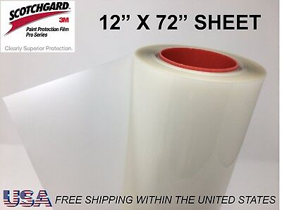 "Paint Protection Film Clear Bra 3M Scotchgard Pro Series 12"" x 72"" Sheet"
