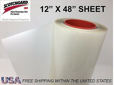 "Paint Protection Film Clear Bra 3M Scotchgard Pro Series 12"" x 48"" Sheet"