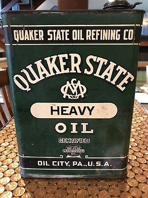 1930's QUAKER STATE 1 gallon Motor Oil Can from gas Station