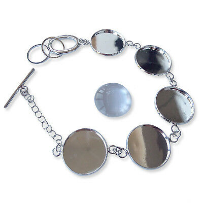 18mm Silver / Bronze ROUND BRACELET Chain Blank Cabochon Glass Jewellery Setting